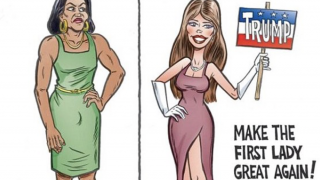 Michelle and Melania Cartoon