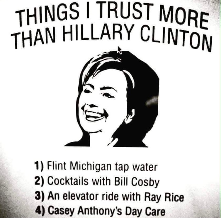 fe3515c9 things i trust more than hillary clinton - Is It Funny or Offensive?