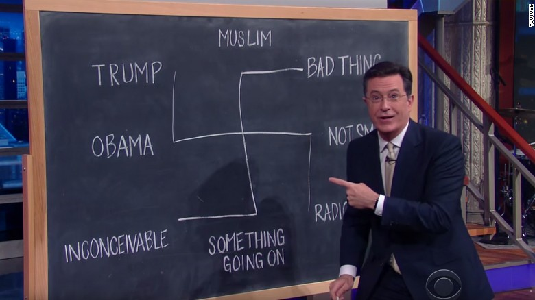 Stephen Colbert Draws Swastika When Talking Trump