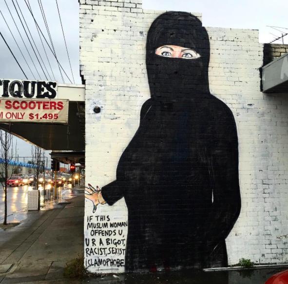 Hillary Clinton Murals With Bikinis and Burqas Deemed Offensive
