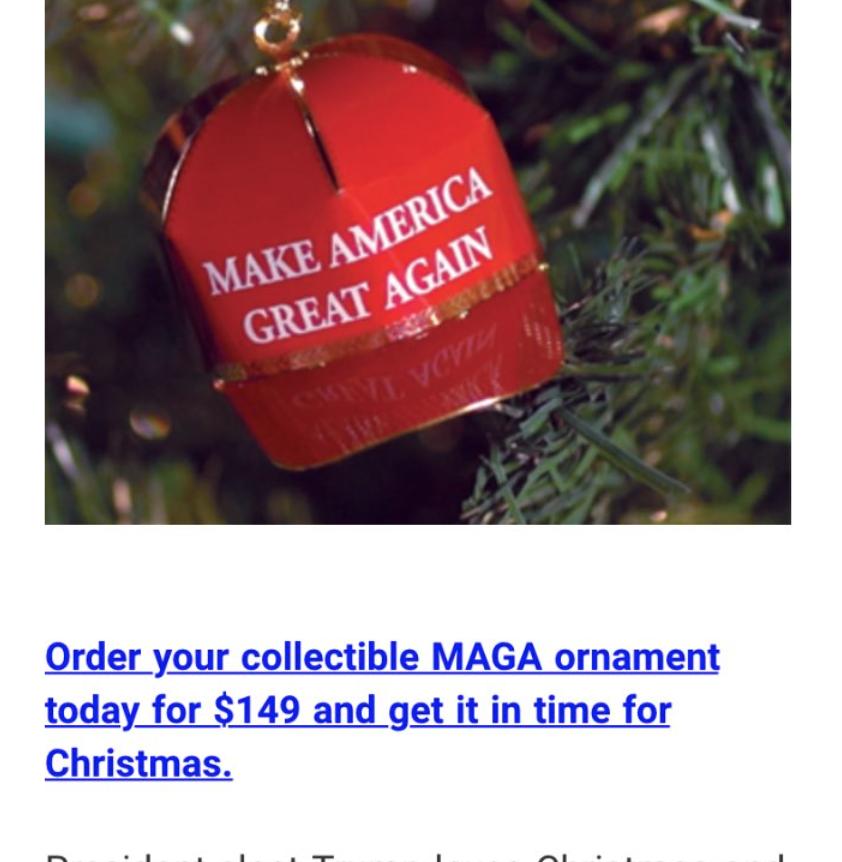 Trump Make America Great Again Red Cap Collectible Ornament