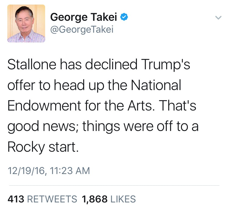 George Takei on Stallone and the National Endowment for the Arts