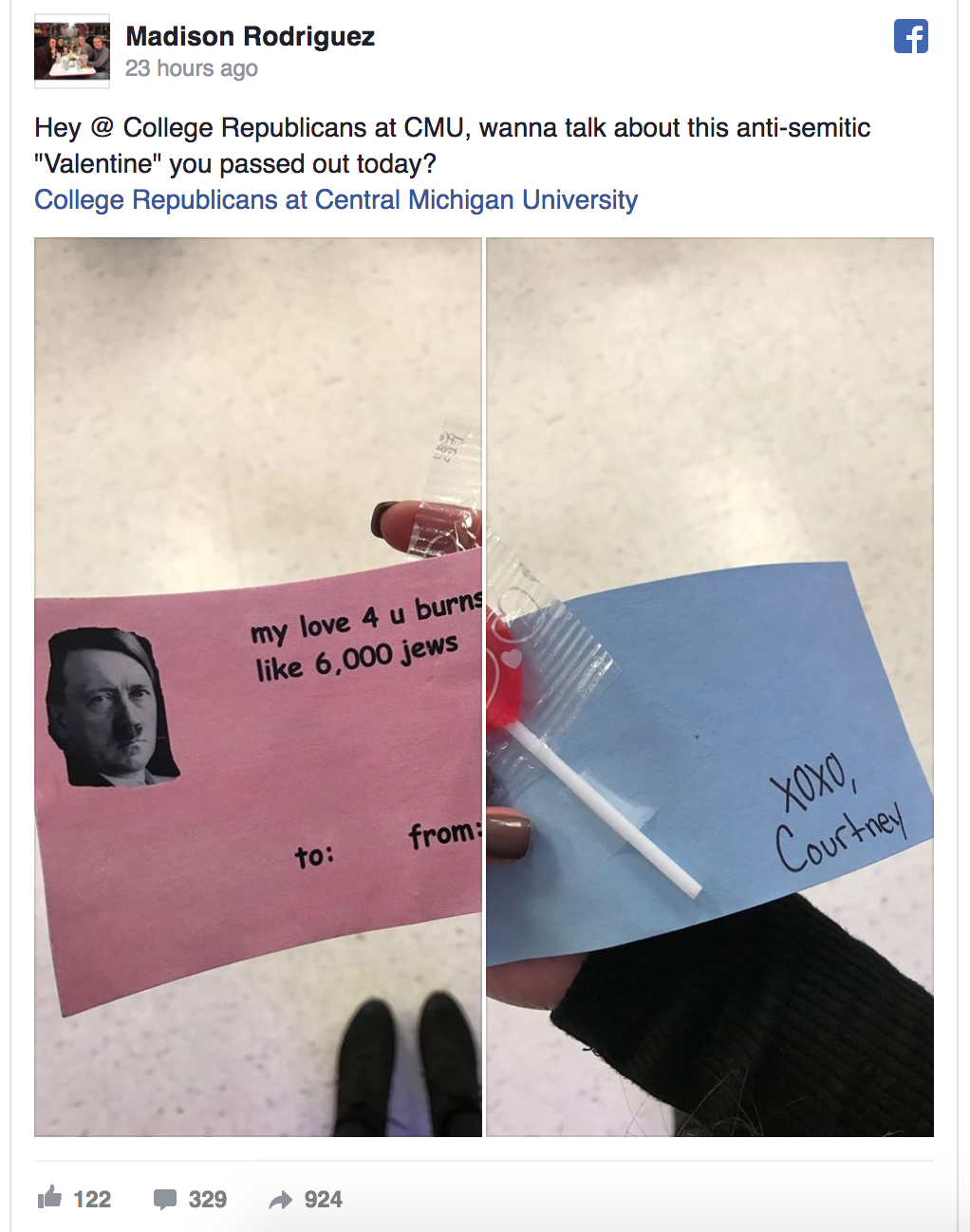 College Republican Group at Central Michigan University Wished A Happy Valentine's Day With A Hitler Joke