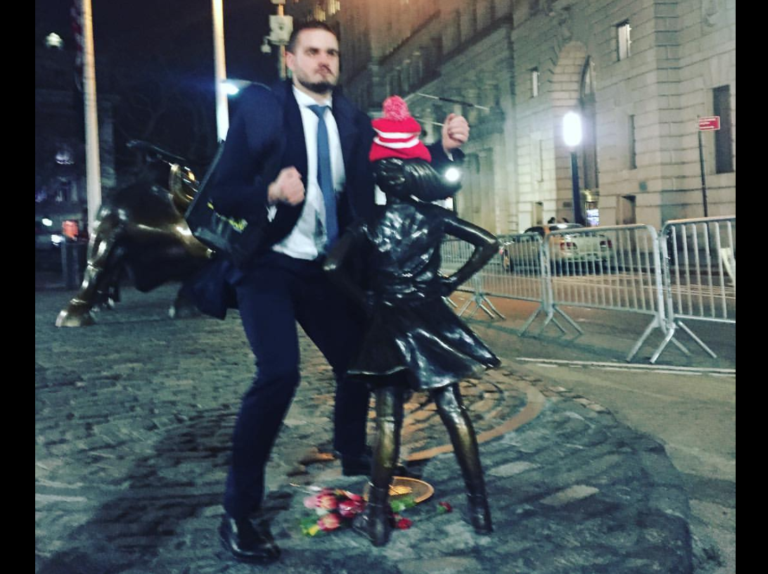 Wall Street Bro Humps Fearless Girl Statue