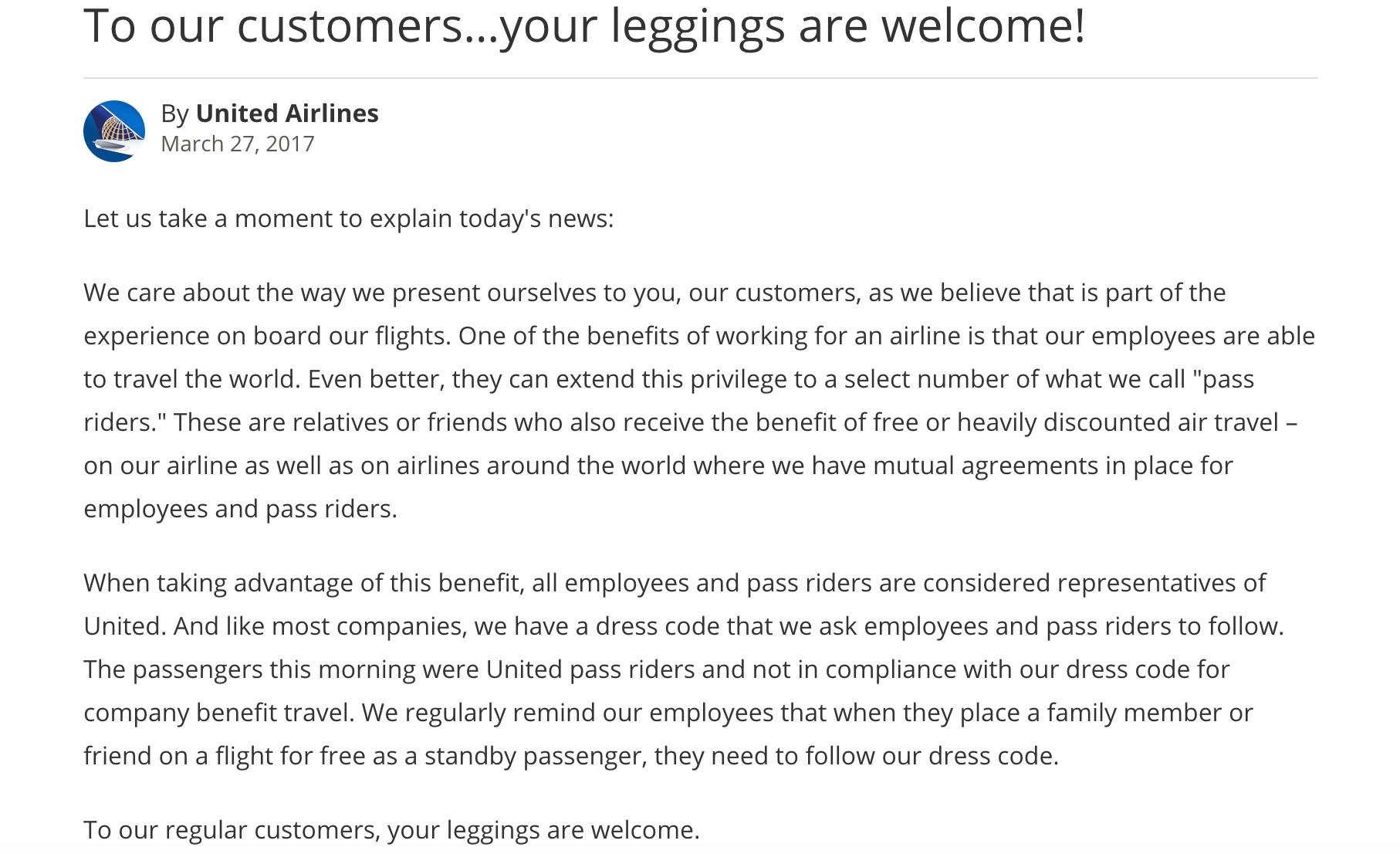United Airlines Leggings Refusal Crashes on Twitter