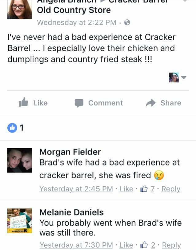 "Cracker Barrel Trolled Relentlessly Online After Firing ""Brad's Wife"""