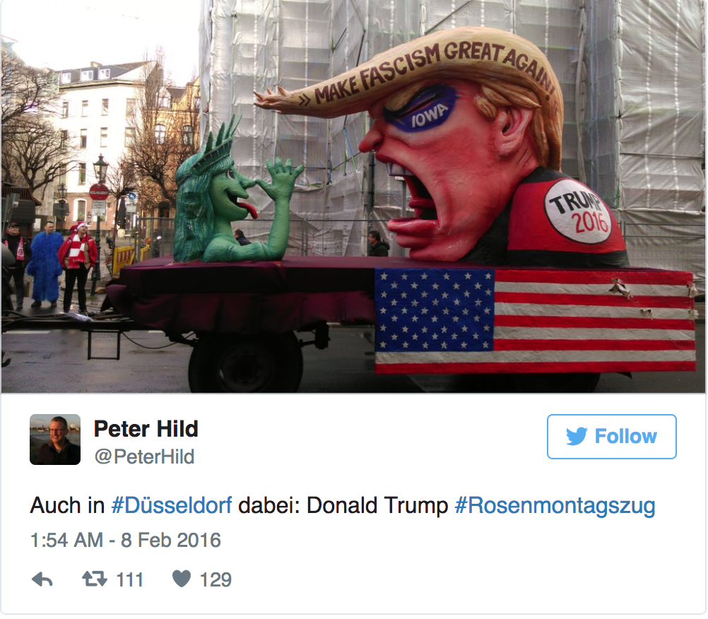 German Parade Float Shows Trump Raping Statue Of Liberty Before Losing His Head