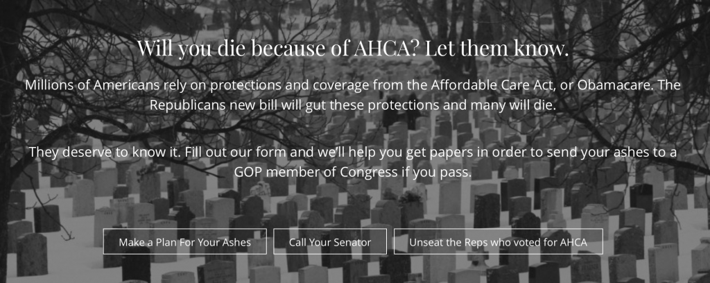 Website Will Send Your Ashes To Congress If You Die From TrumpCare