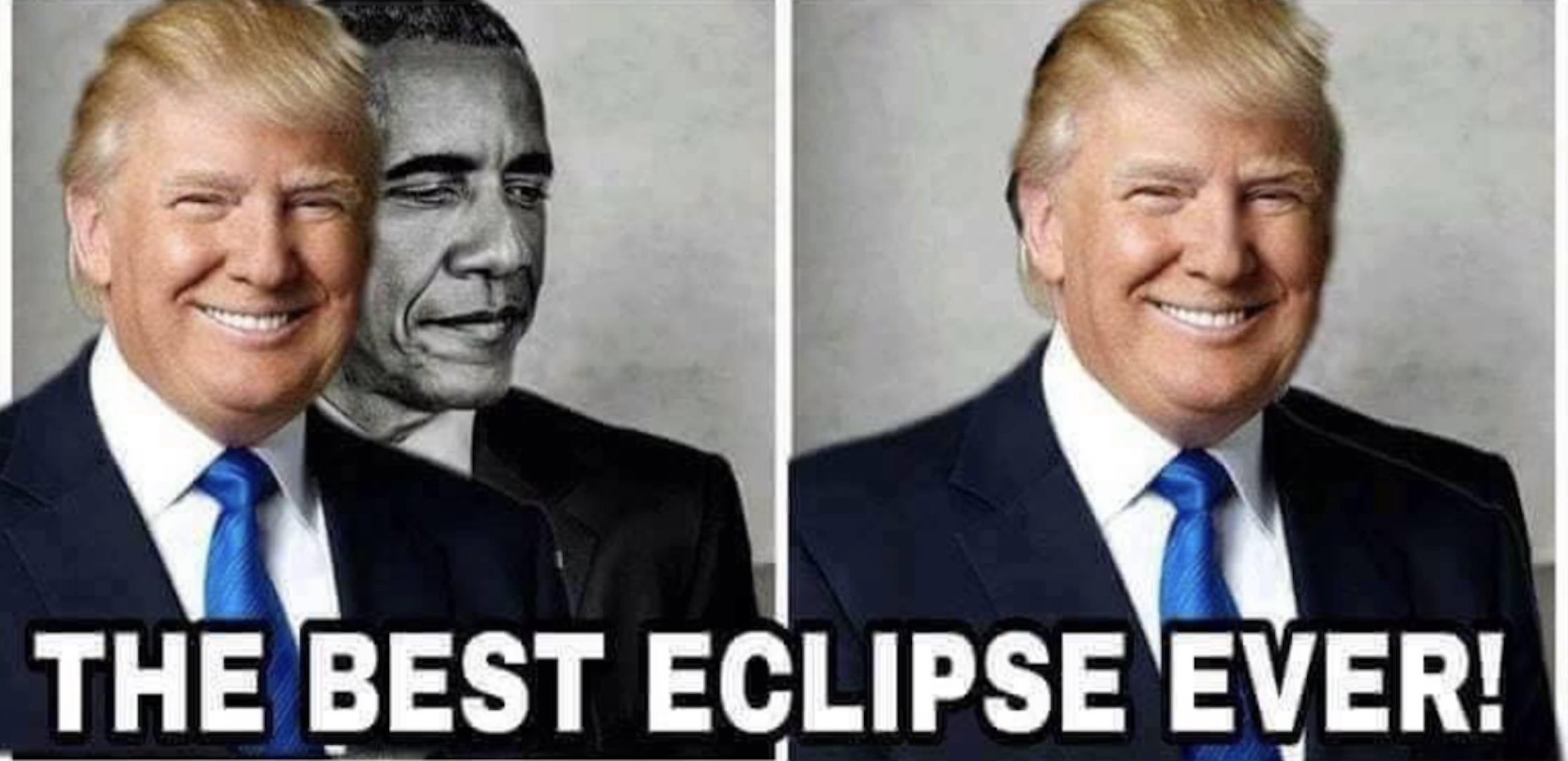 President trump retweets obama eclipse meme is it funny or offensive
