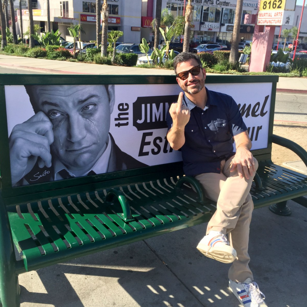 Street Artist Taunts Jimmy Kimmel With 'Estrogen Hour' Posters