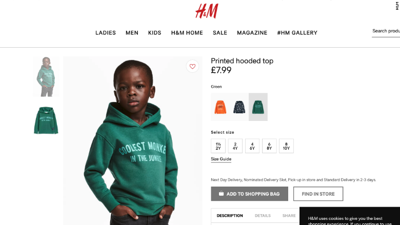 """H&M Under Fire For Using Black Child Wearing """"Coolest Monkey"""" Hoodie"""