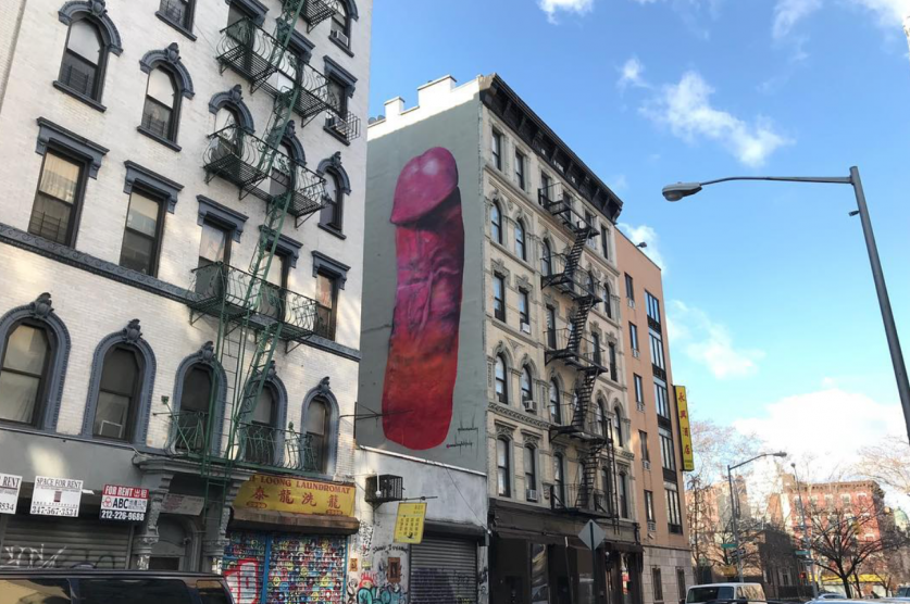 Four story tall penis painting erected in new york city for Mural on broome street