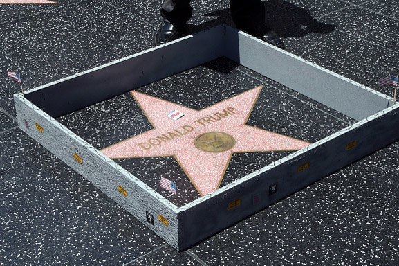 President Trump's Hollywood Walk of Fame Star Destroyed with Pickaxe