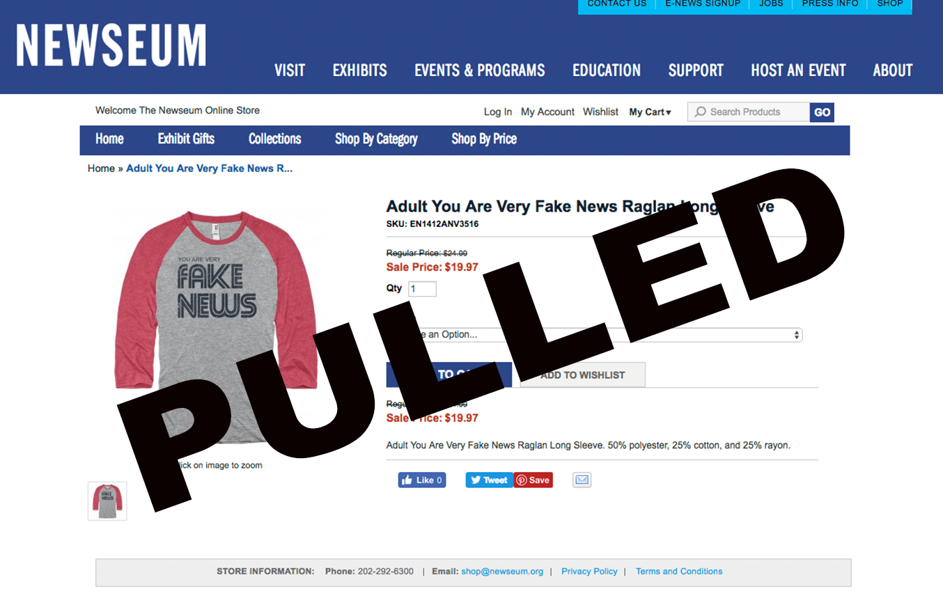 D.C.'s Newseum Pulls 'Fake News' Shirts