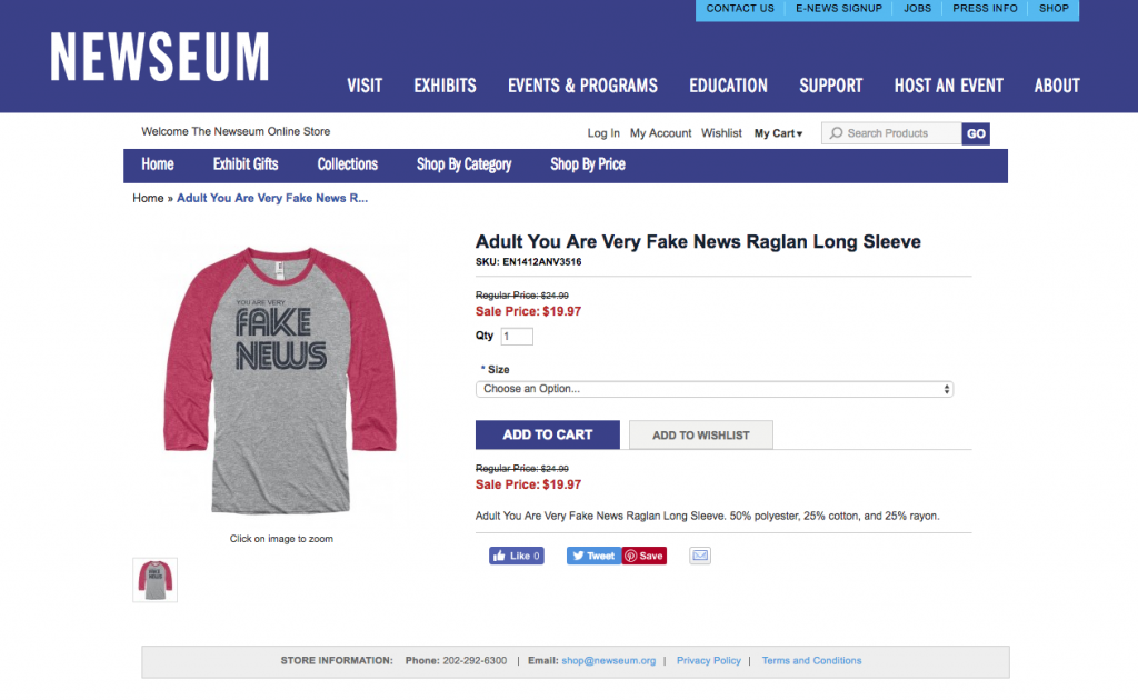 D.C.'s Newseum Pulls 'Fake News' Shirts After Public Pushback