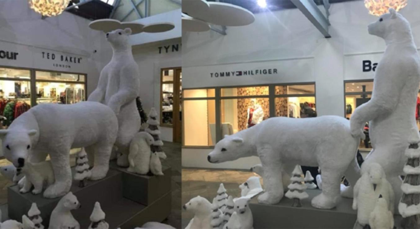 Sexy Holiday Polar Bear Display Shocks Shoppers at Mall