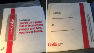 "Delta and Coca-Cola Apologize For Creepy ""Plane Crush"" Napkins"