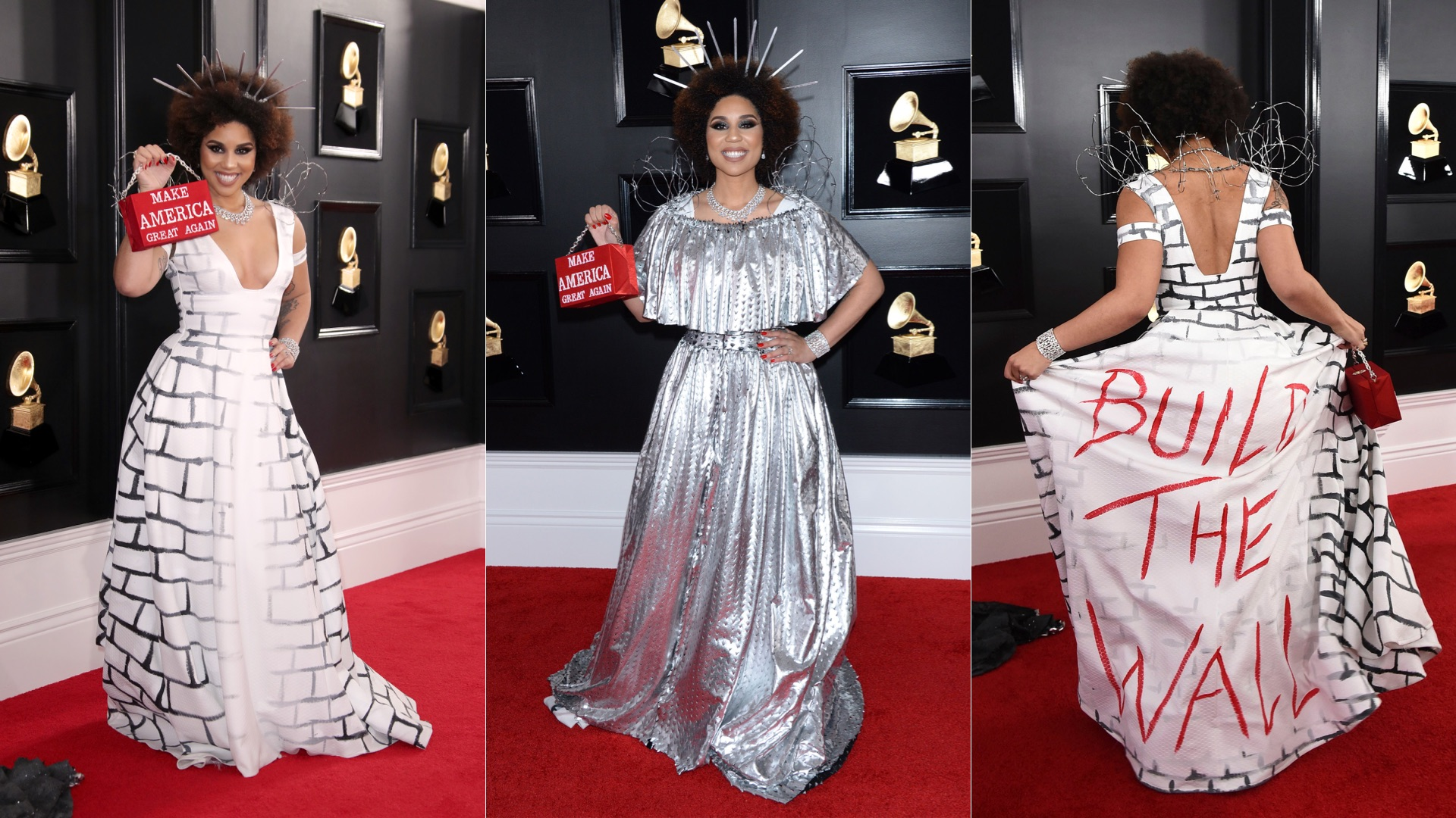 joy villa returns to grammys red carpet in border wall gown grammys red carpet in border wall gown