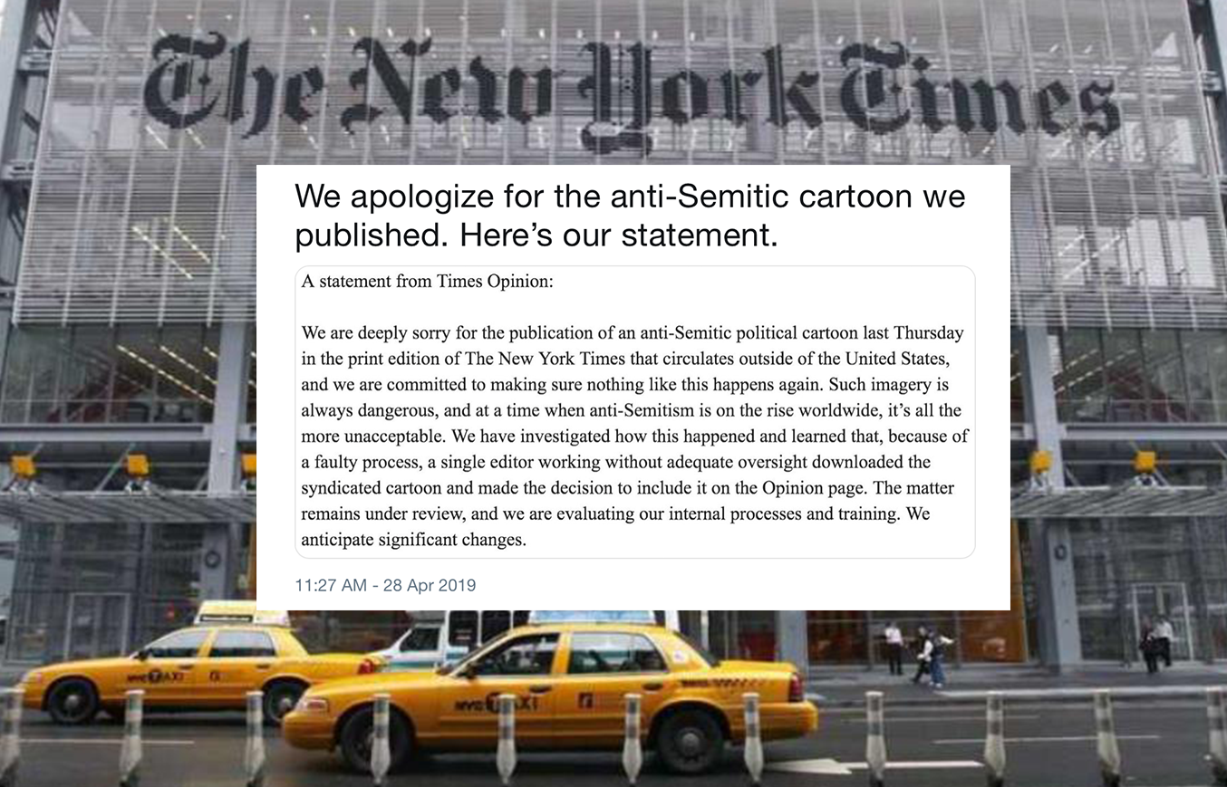 New York Times Apologizes After Condemnation of Anti-Semitic Cartoon