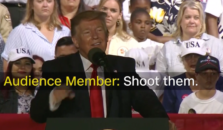 President Trump Laughs After Rally Supporter Suggests Shooting Migrants