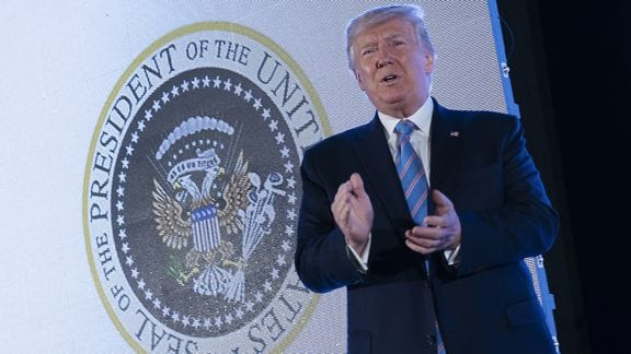 President Trump Appeared in Front of A Phony Presidential Seal